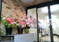 エントランス お花がお出迎え