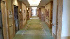 居室をつなぐ廊下には、自然光が優しく射し込み、通る人を心地よく包みます。カラーコーディネーターによる優しい色合いの空間です。
